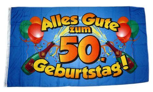 Flagge Fahne Alles Gute Zum 50 Geburtstag Blau Hissflagge 90 X